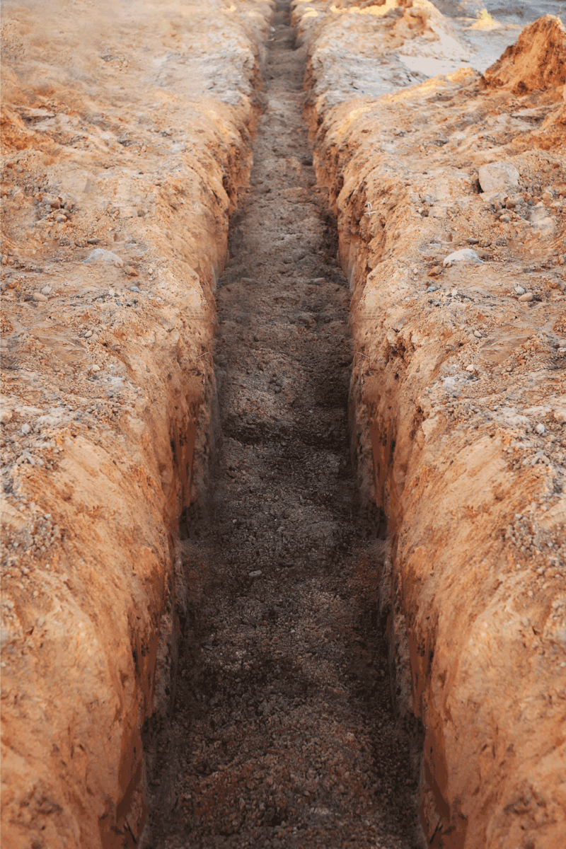 Earthworks, digging trench
