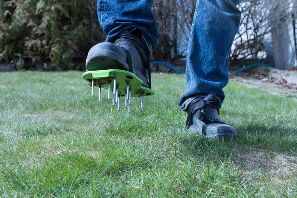 Garden aerator worn on boots for the garden grass
