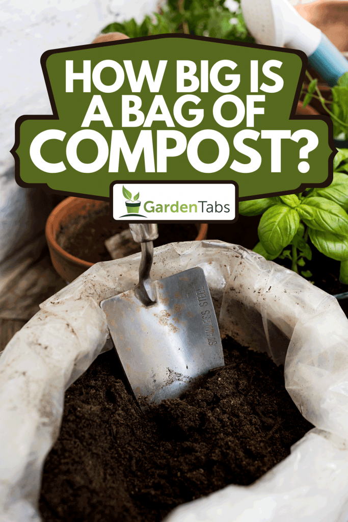 A compost with trowel and plants, How Big Is A Bag Of Compost?