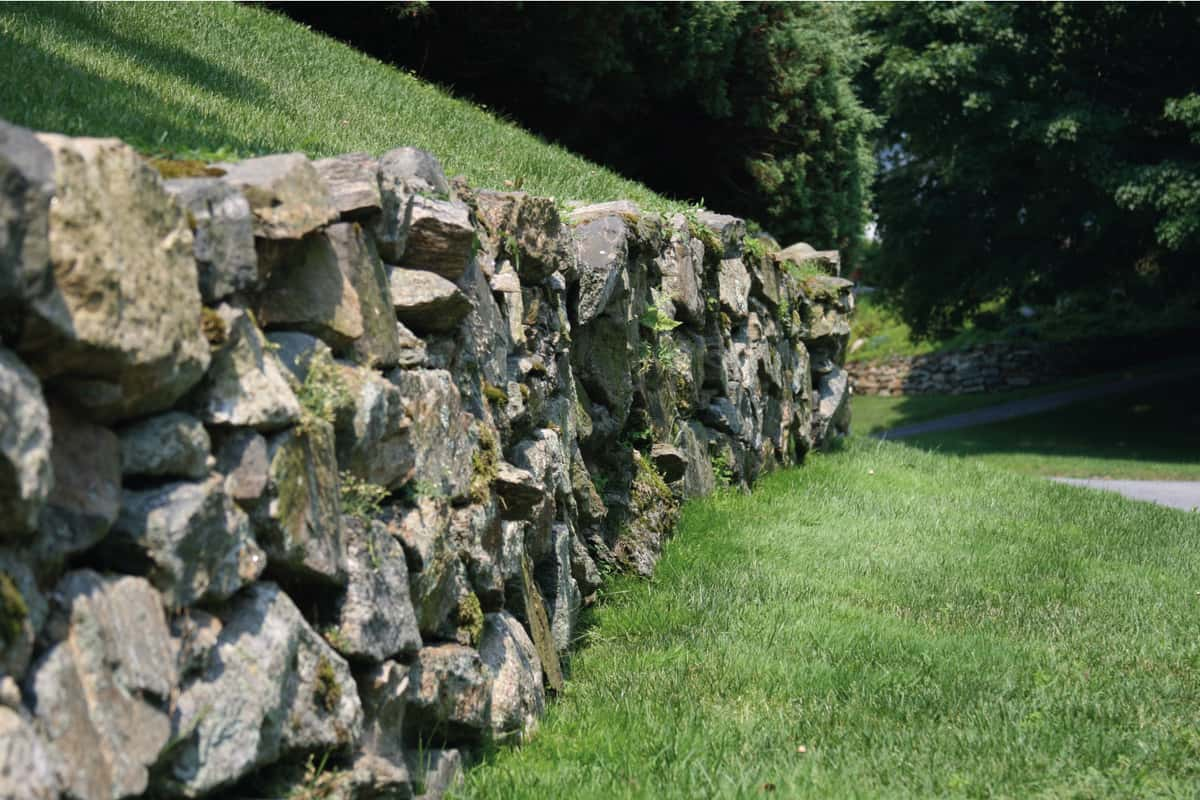 Long retaining wall all in focus with lawn and another retaining wall in the back