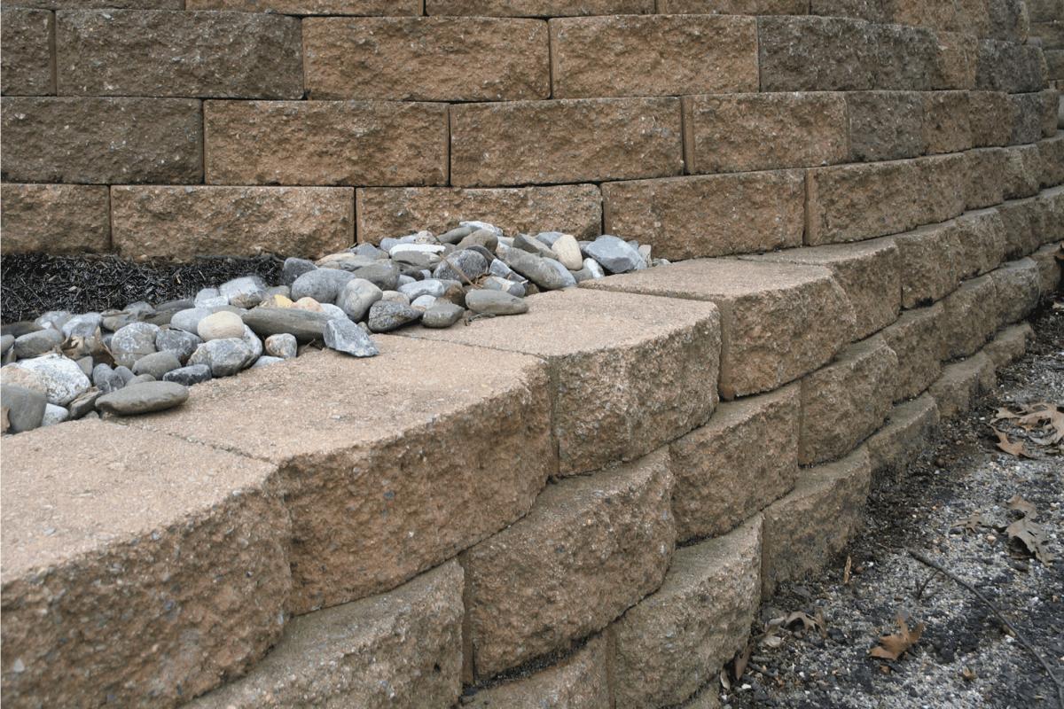 Multilevel retaining wall complex design.