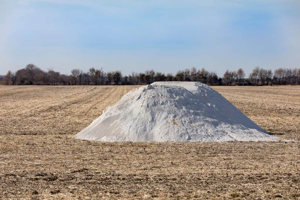Pile of pulverized agricultural lime