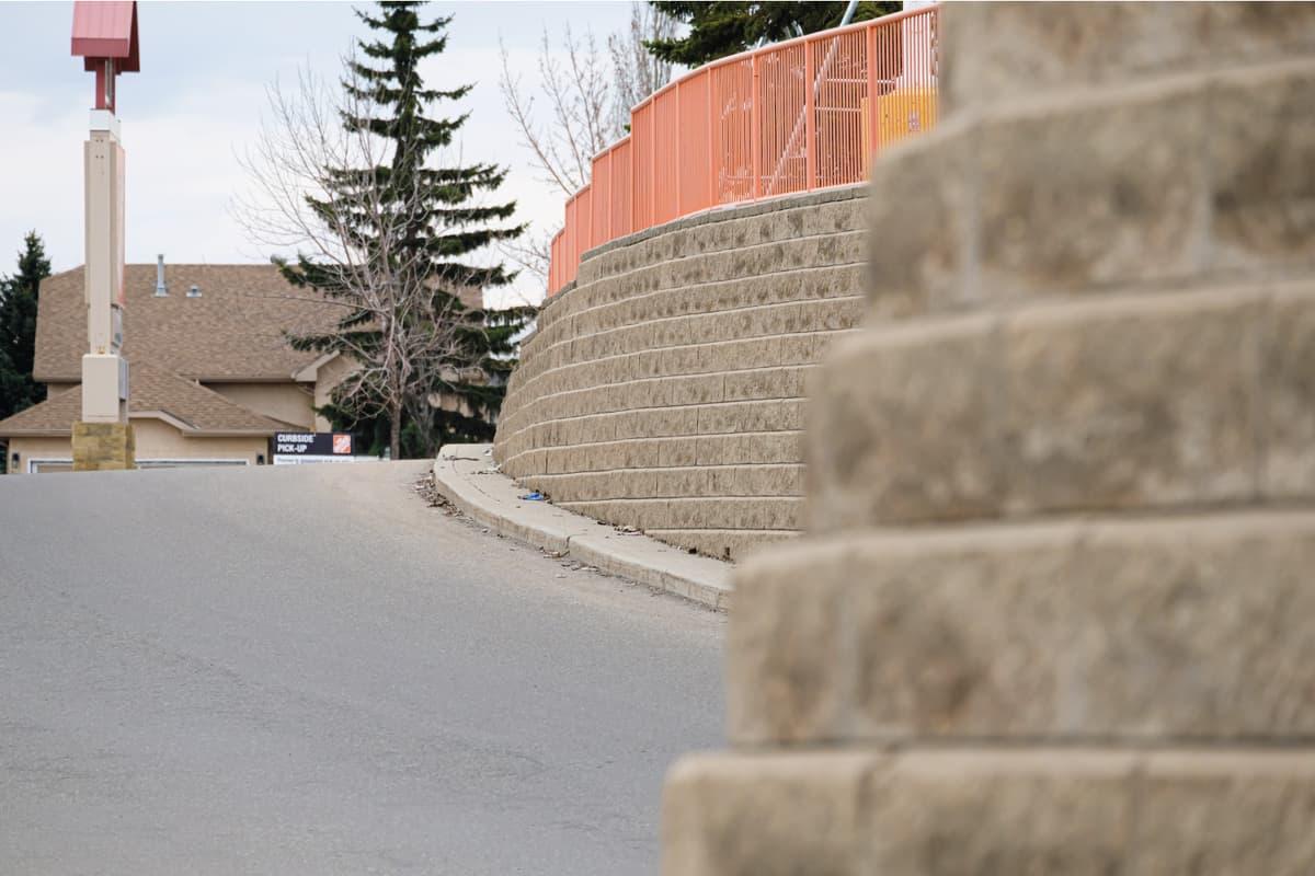 Retaining wall next to pavement on city Street -Design conceptRetaining wall next to pavement on city Street -Design concept