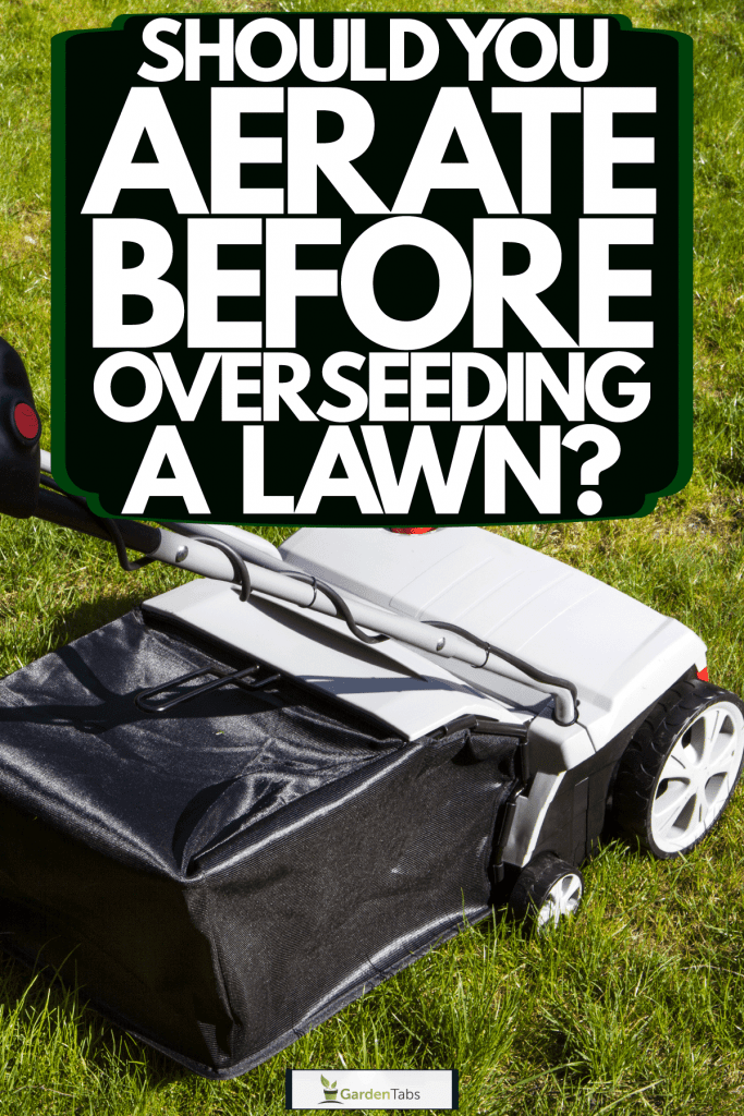 An aerator machine at the backyard lawn, Should You Aerate Before Overseeding A Lawn?